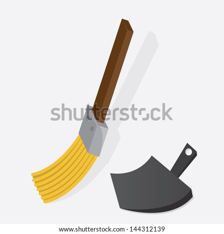 Small broom sweeping with dustpan  - stock vector