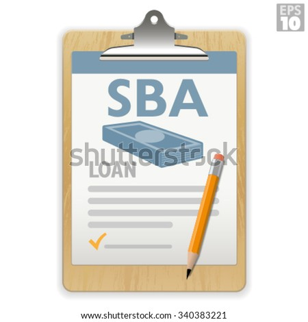 Small business loan application on a wooden clipboard with pencil - stock vector
