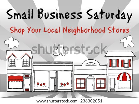Small Business Saturday USA promotes shopping at local neighborhood stores and shops. American event on Saturday after Thanksgiving holiday. Gray and red ray background. EPS8 compatible. - stock vector