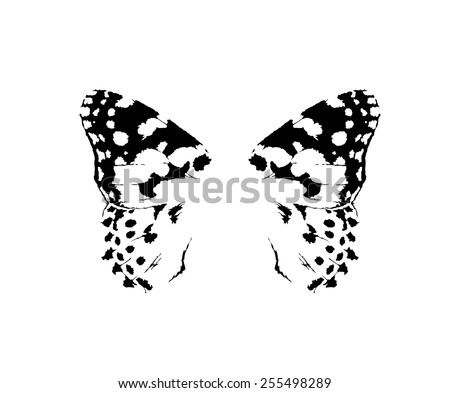 Small butterfly wings isolated vector in tattoo style - stock vector