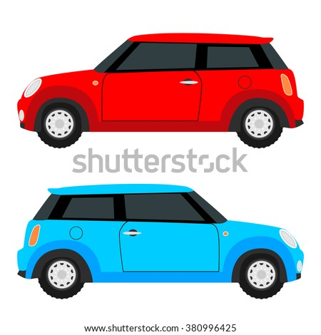 small car on both sides. Red and blue.
