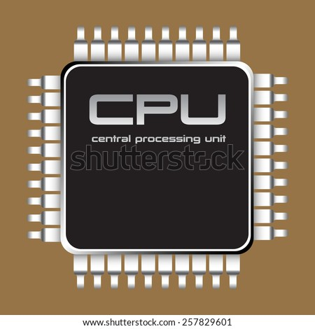Small central processing unit isolated on a brown background  - stock vector