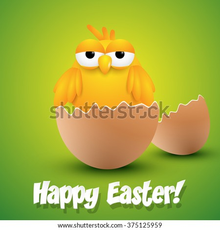Small chick hatching from an egg, ester greeting card. Vector illustration. - stock vector
