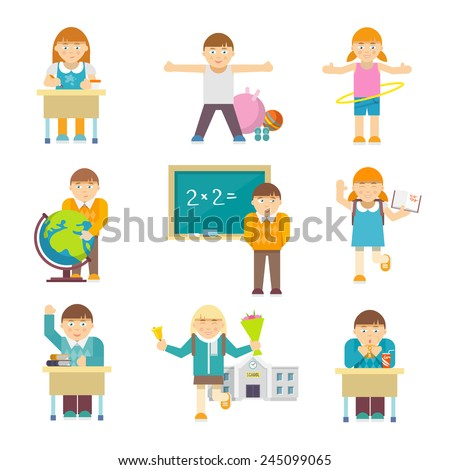 Small children at elementary school lesson characters set isolated vector illustration - stock vector