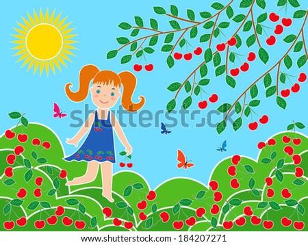 Small children girl near cherry tree in sunny summer day - stock vector