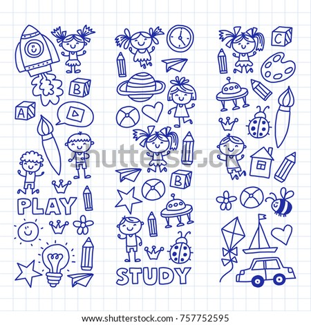 small children play nursery preschool school kids drawing doodle icons pattern background play study learn
