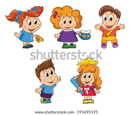 small children, set 1, vector illustration on white background - stock vector