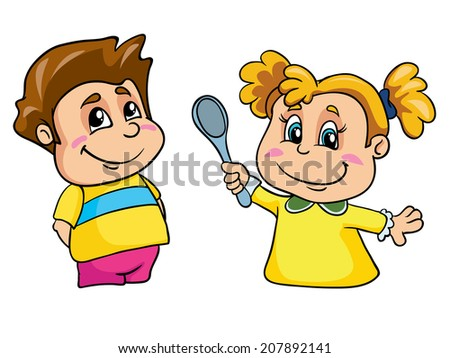 small children set, vector illustration on white background - stock vector