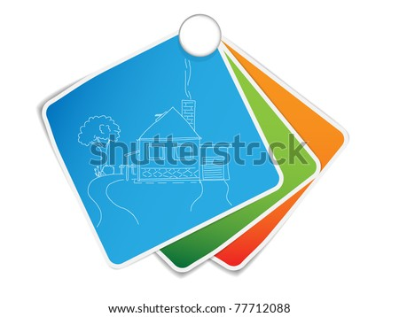 Small color papers with sketch of house - stock vector
