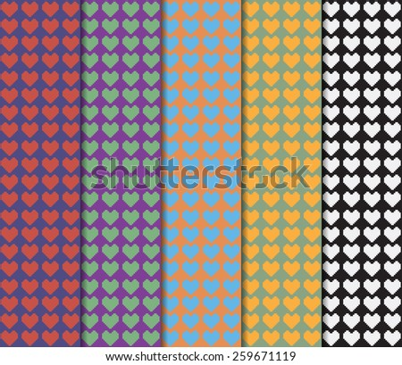 Small colorful hearts on lined backdrop of various colors. Digital background vector illustration.  - stock vector