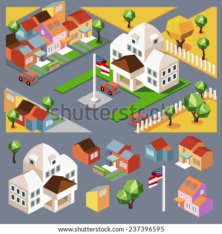 Small colorful neighborhood. vector - stock vector