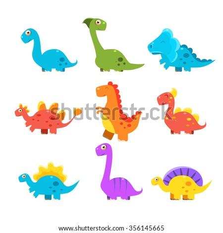 Small Colurful Dinosaur Set. Vector Illustration Collection - stock vector