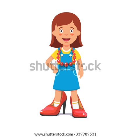 Small cute girl wearing mothers high heel pump shoes and red beads pretending she's a grown up lady. Flat style vector illustration isolated on white background. - stock vector