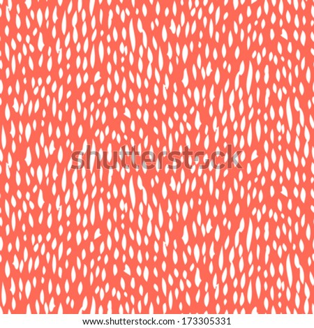 Small ditsy pattern with short hand drawn strokes in coral red color. Seamless texture in hipster style for web, print, fabric, textile, website, invitation card background, summer fall fashion, paper - stock vector