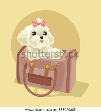 Small dog character sitting in lady bag. Vector flat cartoon illustration