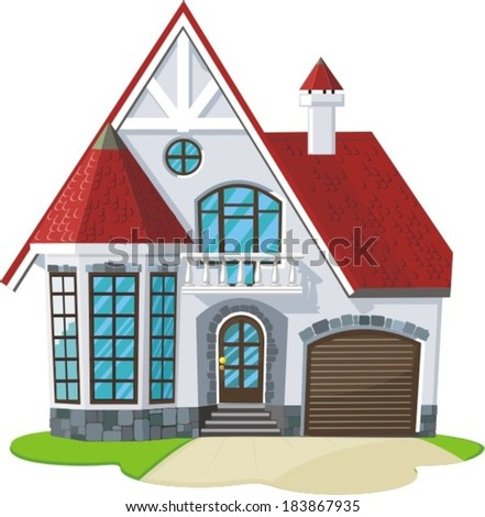 small down town house for family - stock vector