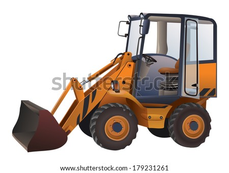 Small excavator isolated