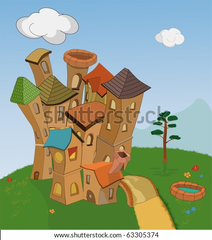 Small fantastic knight's castle on a lawn - stock vector