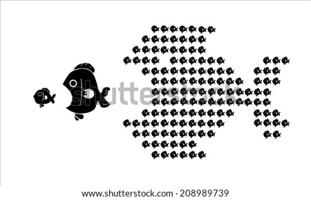 small fish eat big fish, unity of small fish  - stock vector