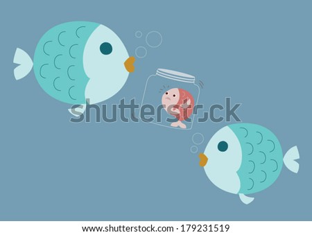 small fish fear things in the out side - stock vector