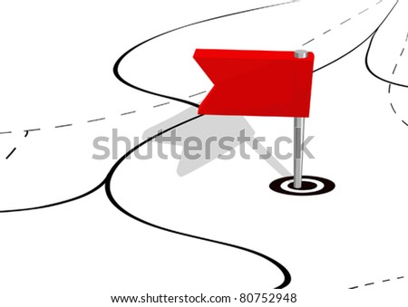 Small flag on a map - stock vector