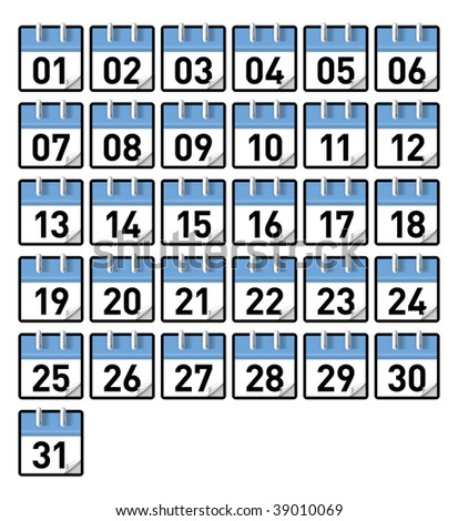 Small generic calendars for all 31 days of a month - stock vector
