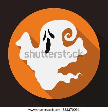 Small ghost icon floating in a orange round button. - stock vector