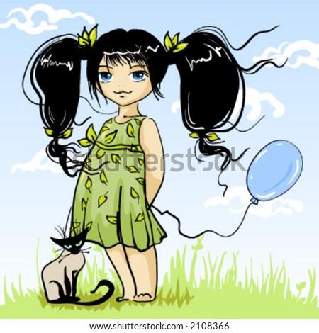 Small Girlie With Kitten - stock vector