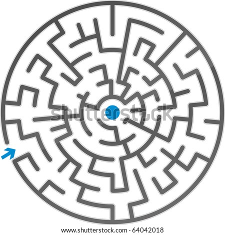 Small gray maze. Vector illustration. - stock vector