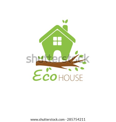Small green eco house on the tree branch. House logo. Ecological house icon.  - stock vector