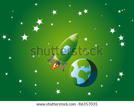 Small green rocket orbiting little stylized planet Earth in green universe - stock vector