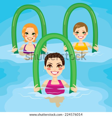Small group of women making aqua gym exercises with foam rollers in swimming pool at the leisure center