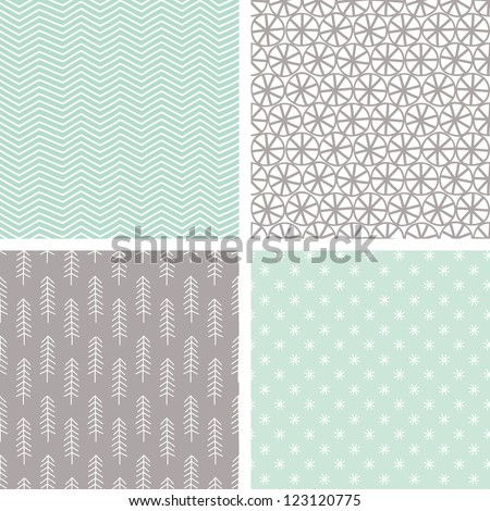 Small Hand Drawn Seamless Pattern Set - stock vector