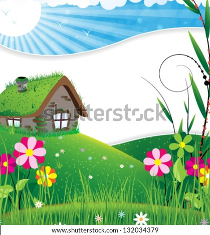 Small house in a meadow with wild flowers - stock vector