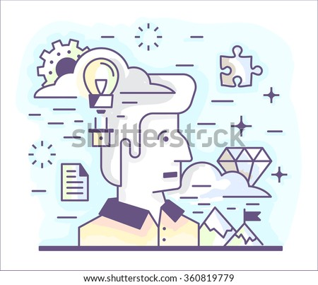 Small illustration of a modern linear style, on the theme of self-improvement, creative processes, invention, ingenuity, great idea. - stock vector