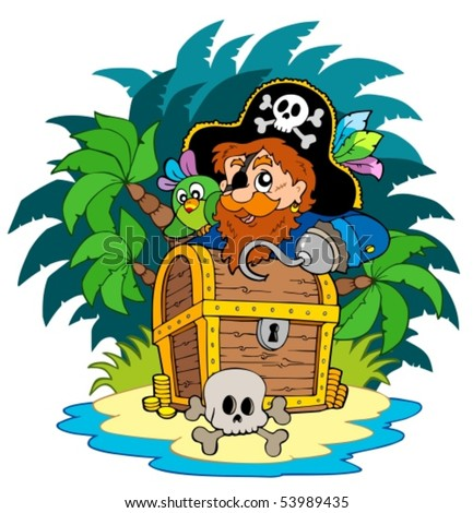 Small island and pirate with hook - vector illustration.