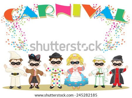 Small Italian Masks - stock vector