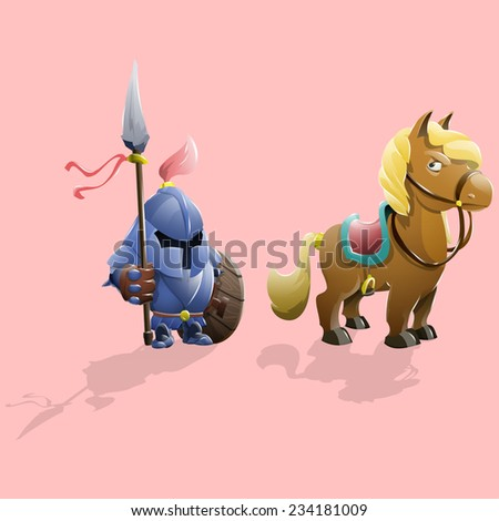 Small knight and pony. Vector illustrations. - stock vector