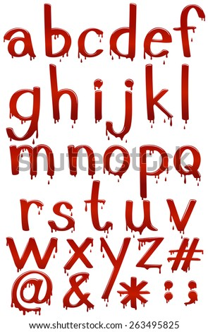 Small letters of the alphabet in bloody template on a white background - stock vector