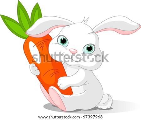 Small lovely rabbit holds giant carrot - stock vector