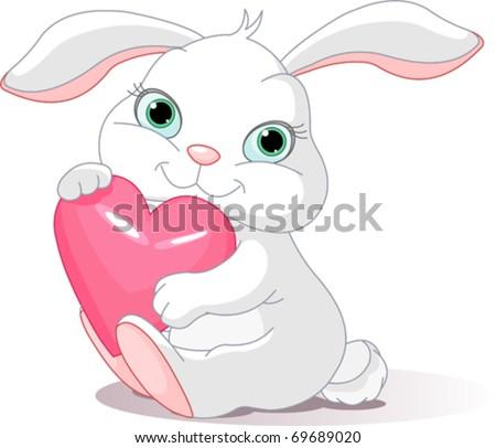 Small lovely rabbit holds love heart - stock vector