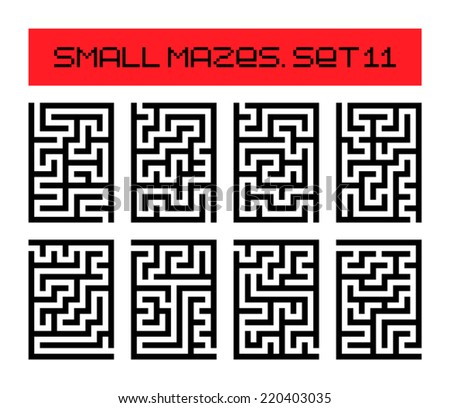 small mazes set 11 - stock vector