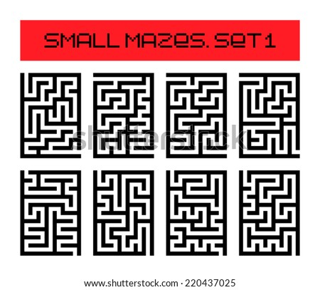 small mazes set 1 - stock vector