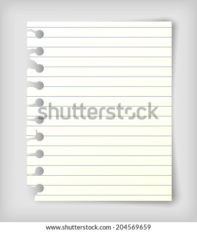 Small note paper sheet, photo realistic vector illustration - stock vector