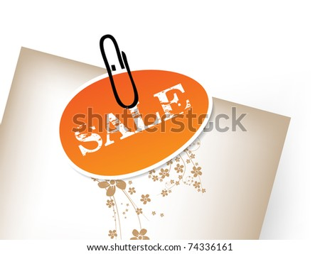Small orange tag with paper clip - egg theme