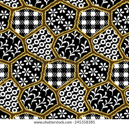 Small pattern of black and orange background. - stock vector