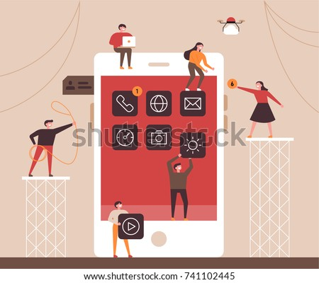 small people character decorated mobile technology. vector concept illustration flat design