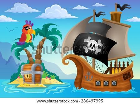 Small pirate island theme 2 - eps10 vector illustration. - stock vector
