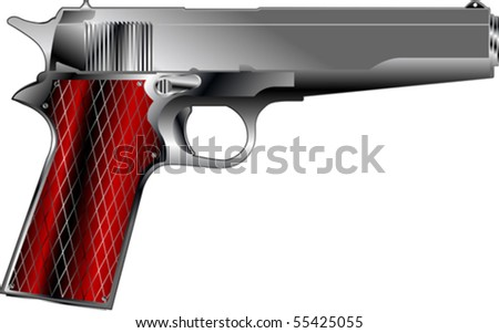 Small pistol, isolated object over white - stock vector
