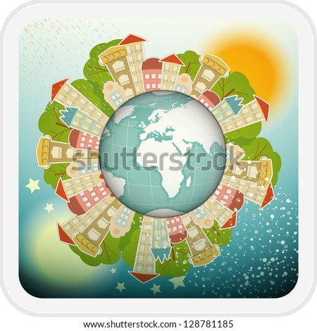 Small Planet with Little Town - Houses around the Planet Earth. Vector Illustration.